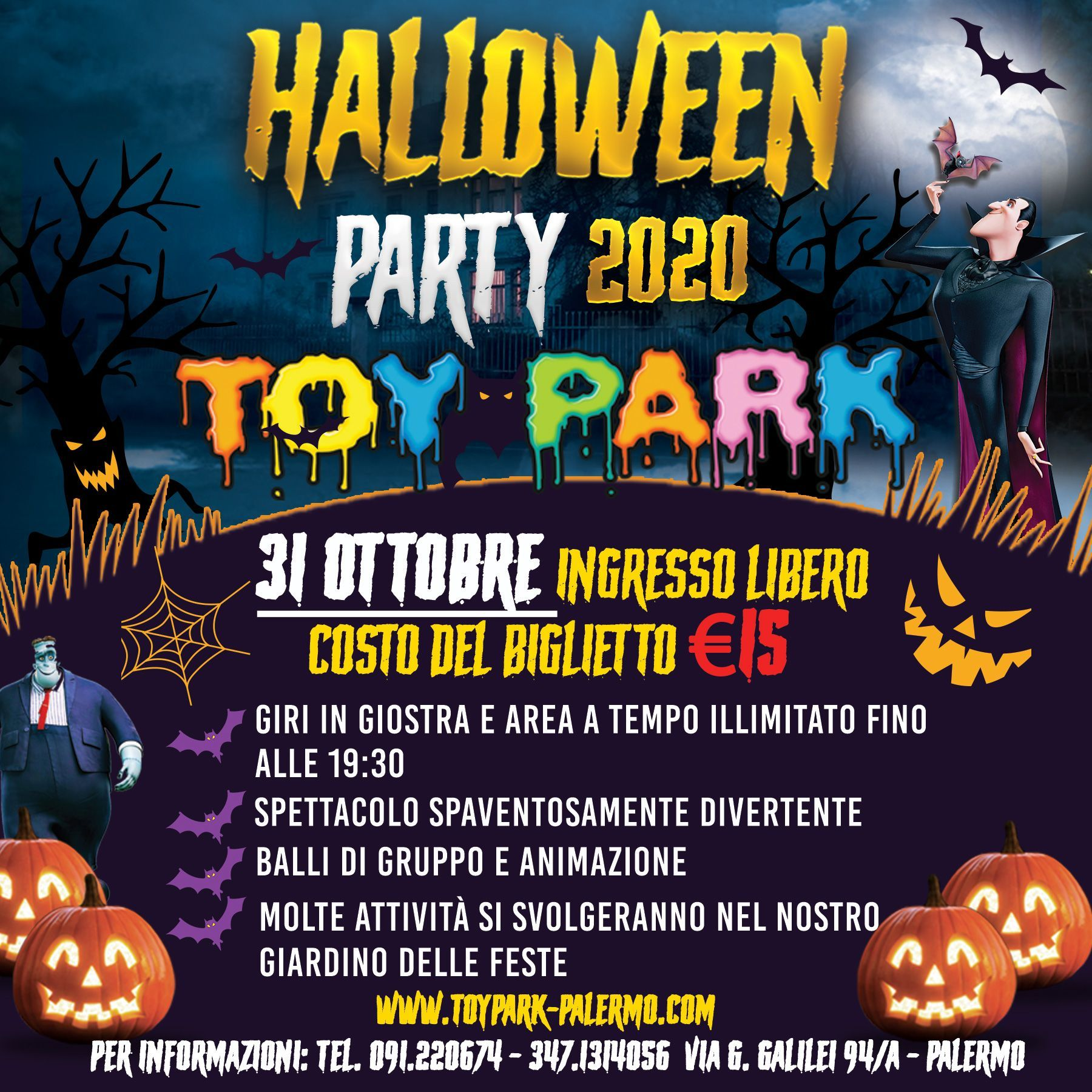 Halloween Party, parco divertimenti Toy Park Palermo